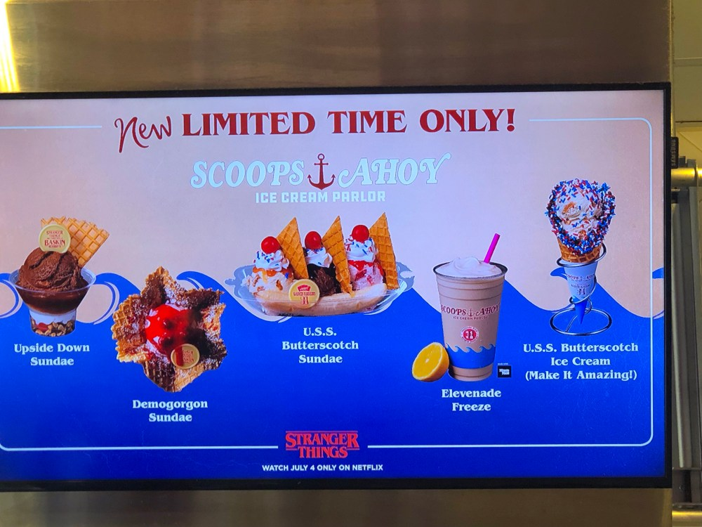 Scoops Ahoy Stranger Things U.S.S. Butterscotch Baskin Robbins