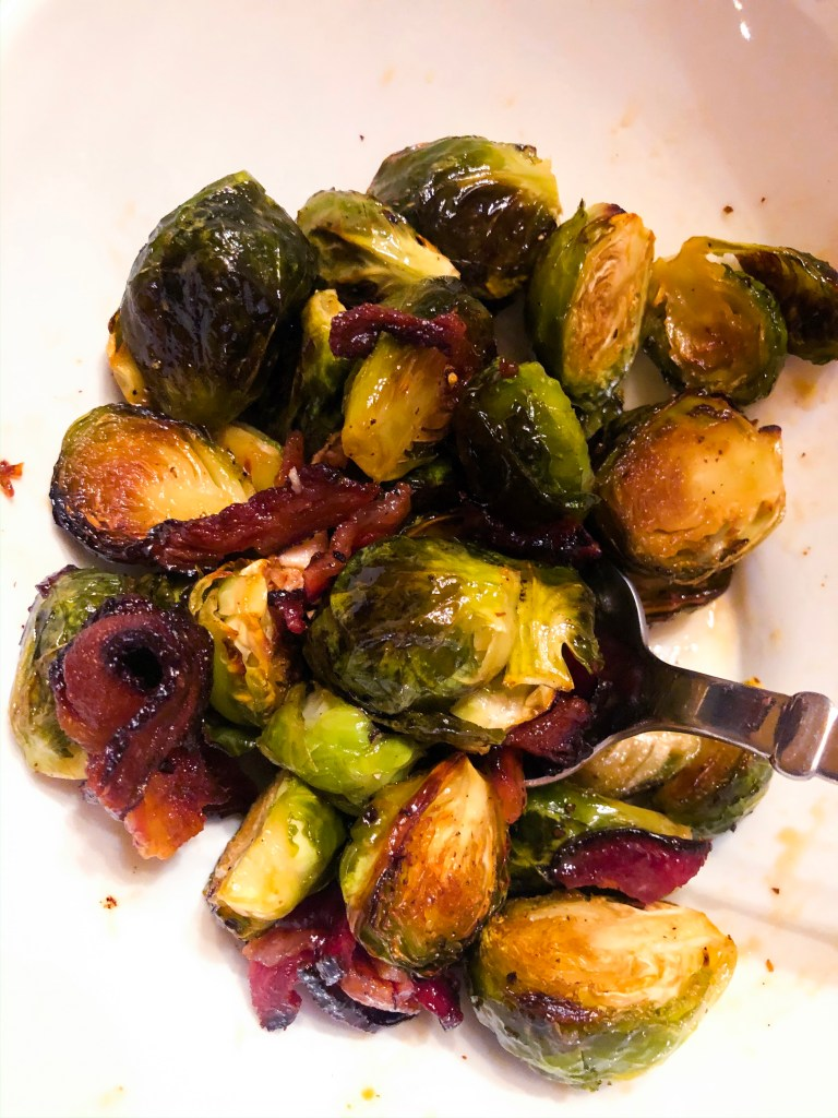 Maple Glazed Bacon Brussels sprouts
