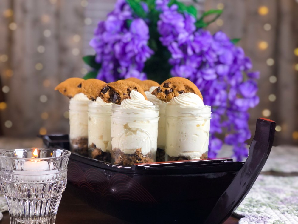 Chocolate Chip Cookie Cheesecake Jars