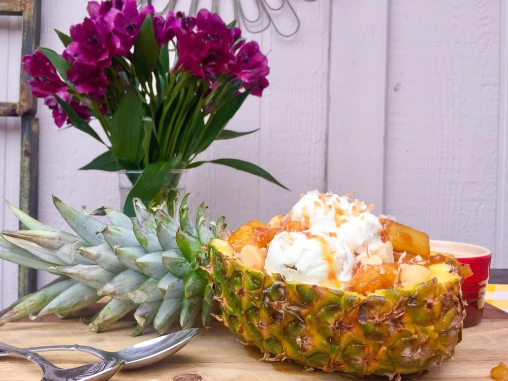 Hawaiian Pineapple Ice Cream Sundae