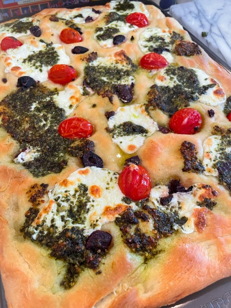 Loaded Focaccia with Pesto, Olives, Tomatoes, Mozzarella