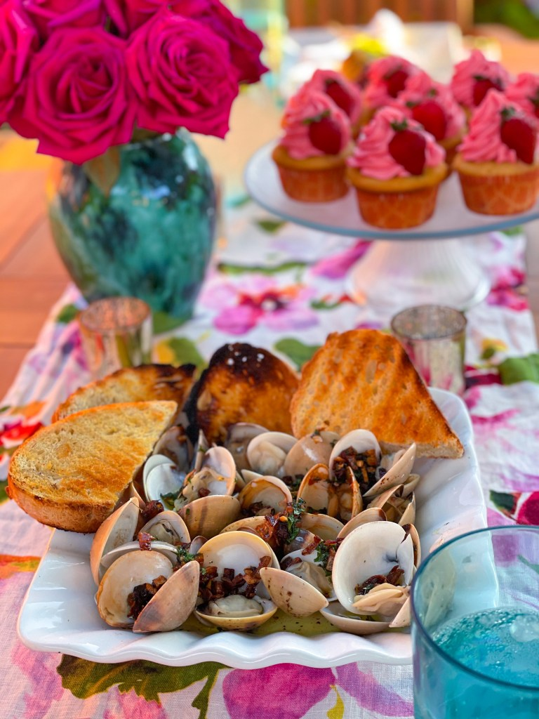 Grilled Clams with Shallot Butter Sauce