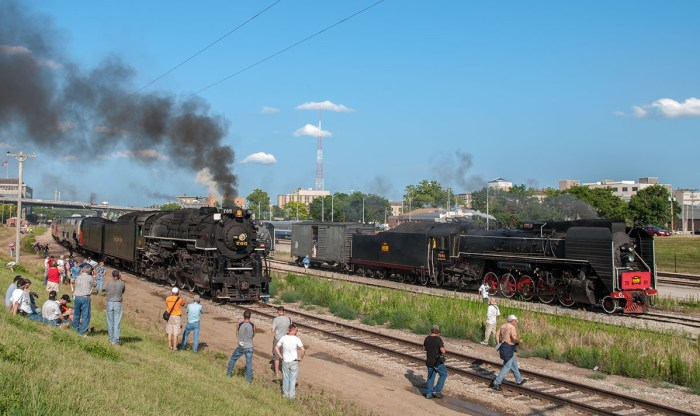 Crowds mingle around the steam locomotives at Train Festival 2011.