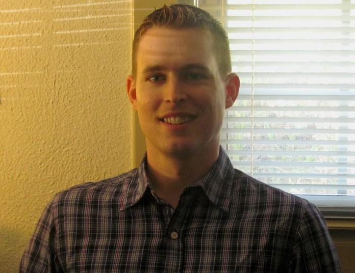 New Professor Jason Finley Poses for photo for the Roundup on Thursday Sept. 1, 2011. Photo: Jordan Laufe