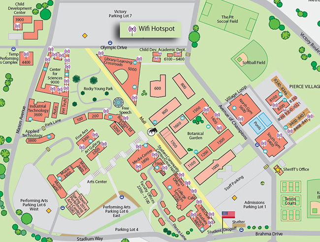 A map showing the wi-fi hotspots around the campus of Pierce College. Photo provided by Doreen Clay