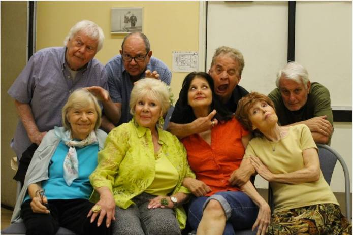 """The Spring Chickens, top row from left to right: Ulf Helgesson, Frank Bonoff, Jimmy Wagner, and Mike Farrow. Bottom row from left to right:  Shirley Dougherty, India Adams, Diana Shore,and Debbie Stavitsky. Photo Credit Richie Zamora"""
