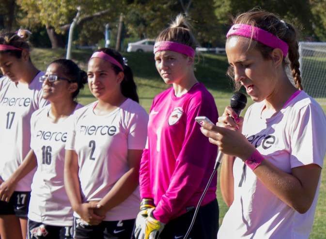 Marrisa Albano, # 7, makes her speech for the Cancer Awareness Game on the Pit, in Woodland Hills, Calif., 21 Oct., 2014. The game was between Pierce College Brahamas and Oxnard College Condors. Photo: Andre Alcazar