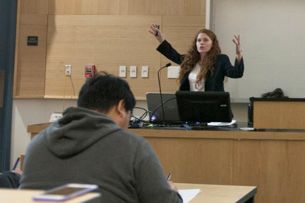 """Assistant Professor of Life Sciences and microbiologist Maragrethe Cooper discusses the origins and dangers of Ebola. Cooper also explained how the virus is transferred, and how it effects humans at the """"Dispelling the Myths About Ebola"""" presentation in the CFS Lecture Hall  at Pierce College, Woodland Hills, Calif. on Nov. 20, 2014."""
