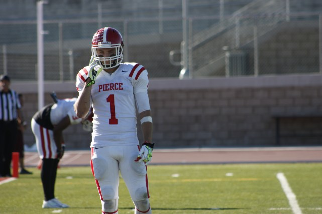 Wide receiver Bryson Martinez waits for his next play at Antelope Valley College. Photo by Megan Moureaux