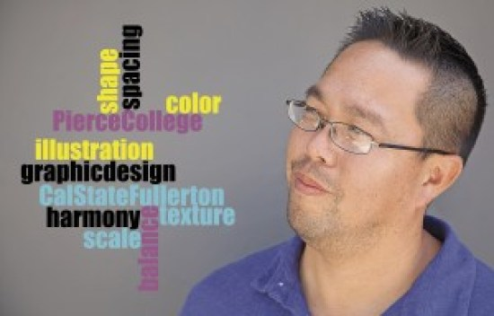 Richard Kamimura, a graphic design instructor, shares his experience in the design industry with students taking his graphic design and typography courses at Pierce College in Woodland Hills, Calif. Photo illustration  by Mohammad Djauhari