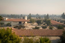 Smogs are seen floating on the horizon at Pierce College during the Saddleridge Fire, on Friday, Oct. 11, 2019, in Woodland Hills, Calif. The school admininstration announced the premises to close during the weekend. (Photo by Kevin Lendio)