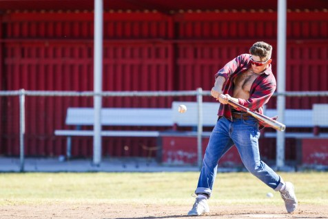 Dirk Ryan dressed as the Brawny Man hits a pitch during Pierce College Baseball's Halloween Backwards Game at Joe Kelly Field in Woodland Hills, Calif. on Oct. 31, 2019. Photo by Benjamin Hanson.