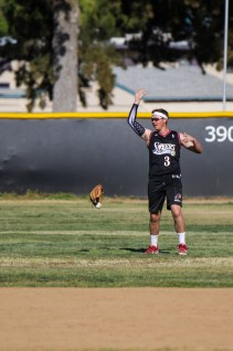 Tyler Freeland dressed as Allen Iverson loses his glove during Pierce College Baseball's Halloween Backwards Game at Joe Kelly Field in Woodland Hills, Calif. on Oct. 31, 2019. Photo by Benjamin Hanson.