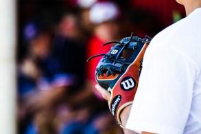 Sam Brand's glove after Pierce College Baseball's Halloween Backwards Game at Joe Kelly Field in Woodland Hills, Calif. on Oct. 31, 2019. Photo by Benjamin Hanson.
