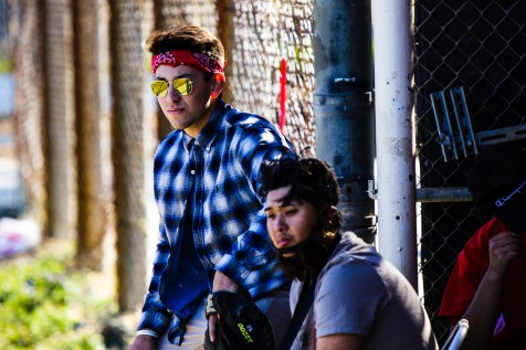 Gavin Haimovitz and Matt Roth after Pierce College Baseball's Halloween Backwards Game at Joe Kelly Field in Woodland Hills, Calif. on Oct. 31, 2019. Photo by Benjamin Hanson.