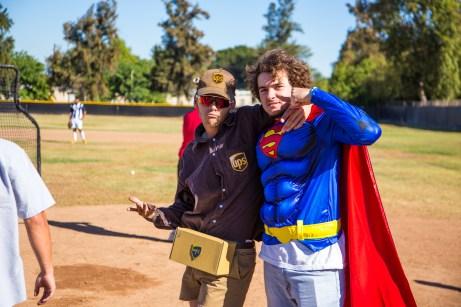 Zack Garcia and Joe Metcalfe during Pierce College Baseball's Halloween Backwards Game at Joe Kelly Field in Woodland Hills, Calif. on Oct. 31, 2019. Photo by Benjamin Hanson.