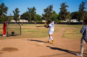 Leon Jackson hits a pitch during Pierce College Baseball's Halloween Backwards Game at Joe Kelly Field in Woodland Hills, Calif. on Oct. 31, 2019. Photo by Benjamin Hanson.