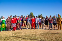 Pierce College Baseball Halloween Team Photo taken after Pierce College Baseball's Halloween Backwards Game at Joe Kelly Field in Woodland Hills, Calif. on Oct. 31, 2019. Photo by Benjamin Hanson.
