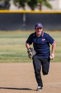 Matt Svoles dressed as an umpire runs to first base during Pierce College Baseball's Halloween Backwards Game at Joe Kelly Field in Woodland Hills, Calif. on Oct. 31, 2019. Photo by Benjamin Hanson.