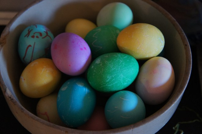 Easter eggs in an old crock