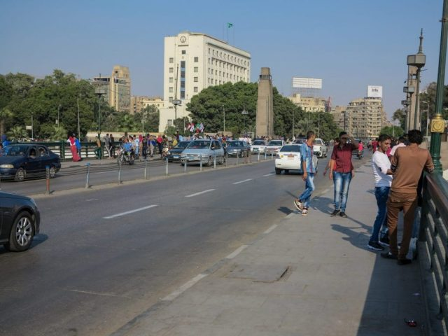 A bustling street in Cairo