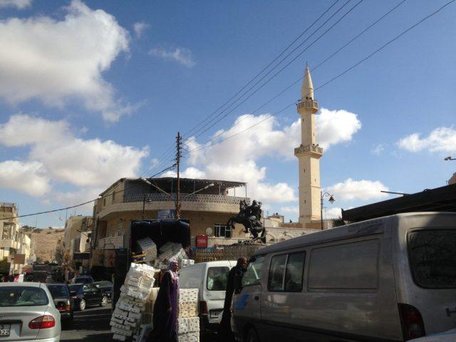 Karak, Jordan. Any traffic in big cities are bad.