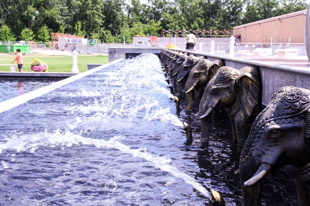 BAPS Atlanta - Elephant fountain outside the mandir