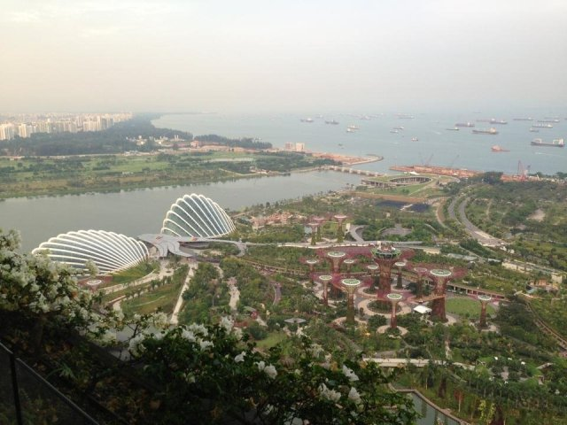 The view of Singapore Bay from our room at the Marina Bay Sands.