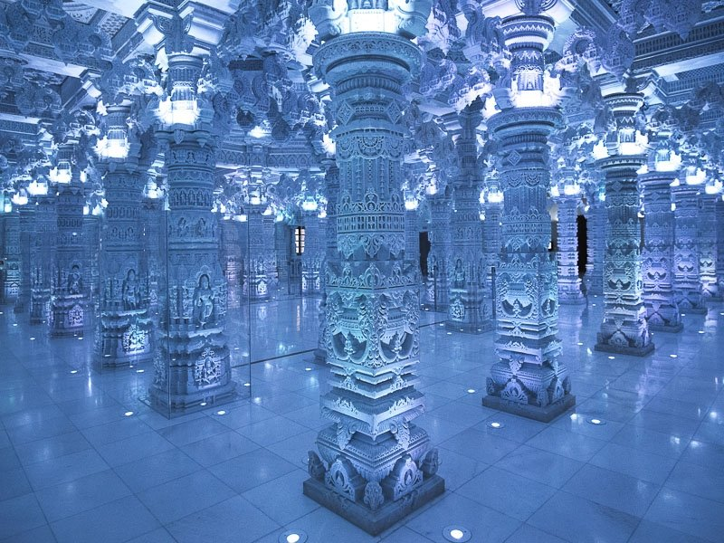 Inside the BAPS Atlanta Mandir - intricately carved columns, all transported from India
