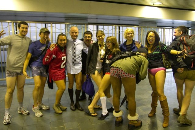 No pants Subway ride - Couchsurfing event - a group of pwople without pants!