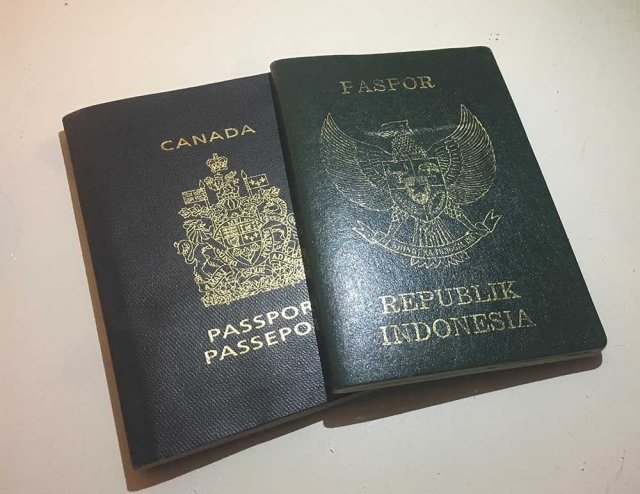 Indonesian and Canadian passports