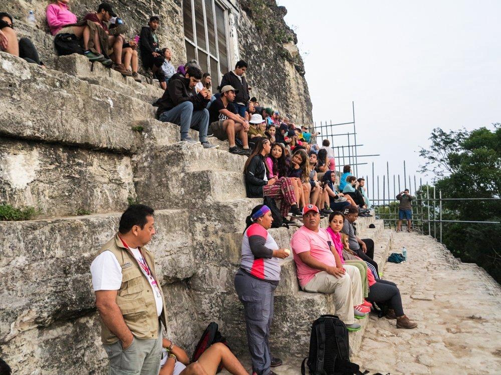 Sunset at Tikal crowd