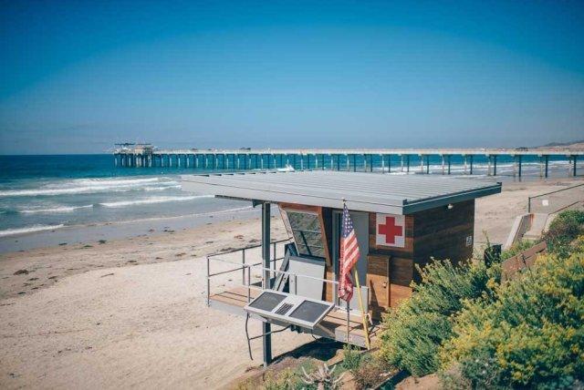 Beautiful beack with a lifeguard station