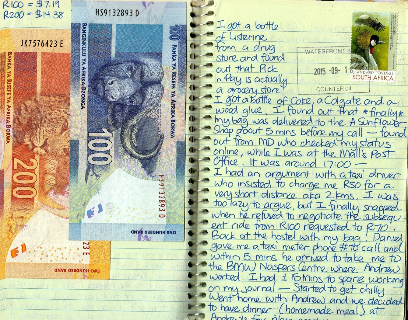 travel journal ideas: money
