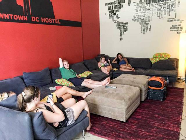 Downtown D.C. Hostel - The TV room sofa