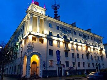 dreamy castle hostel minsk night outside