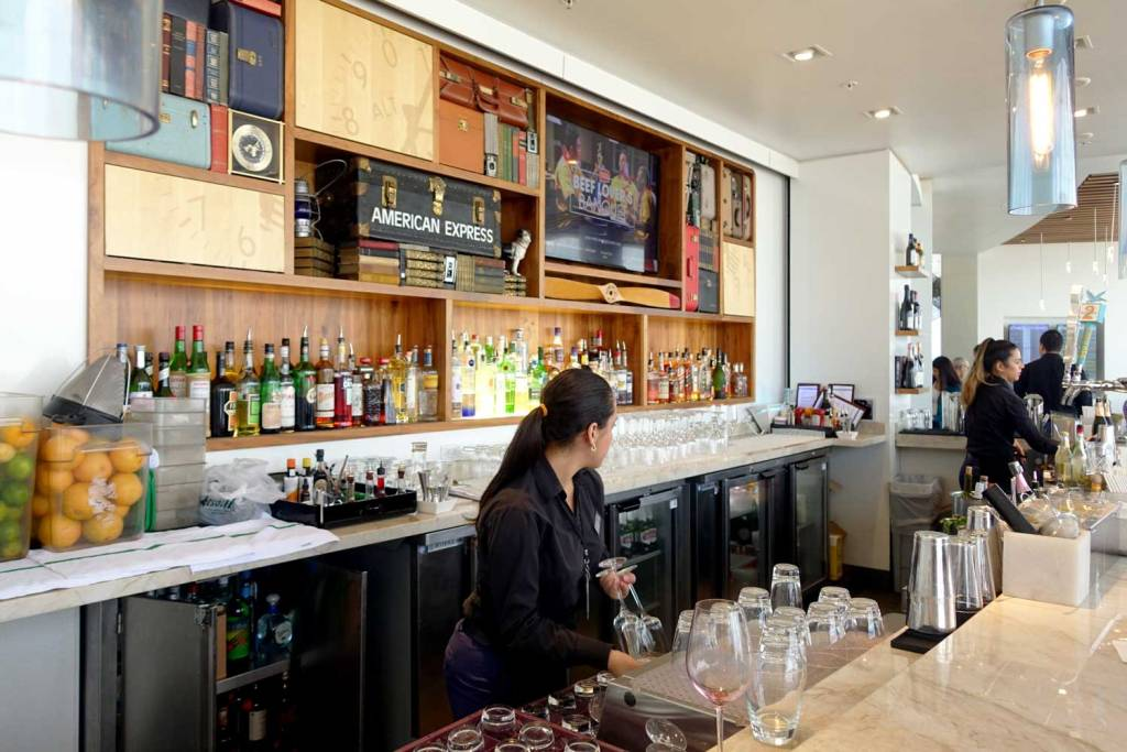 The bar at Amex Miami Centurion Lounge