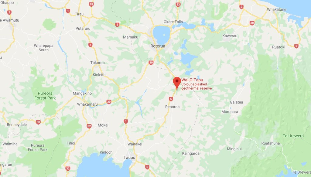 Google Map of Wai-O-Tapu showing that is it roughly between Rotorua and Taupo