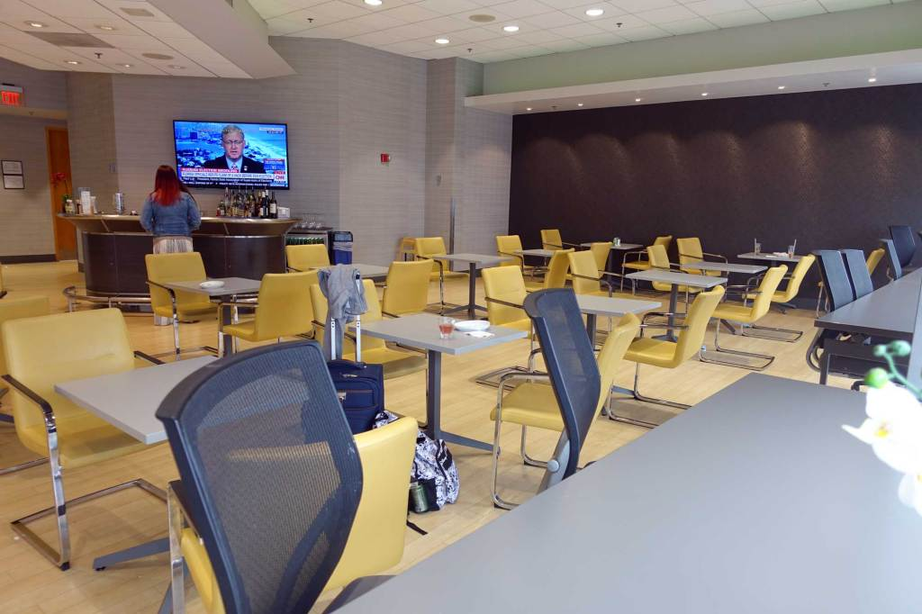 Cafeteria style seating area at the lounge boston
