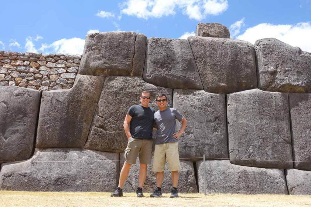 Michael and Halef in front of the massive boulders of Sacsayhuaman - a [lace they visited on their Custo Tourist Ticket
