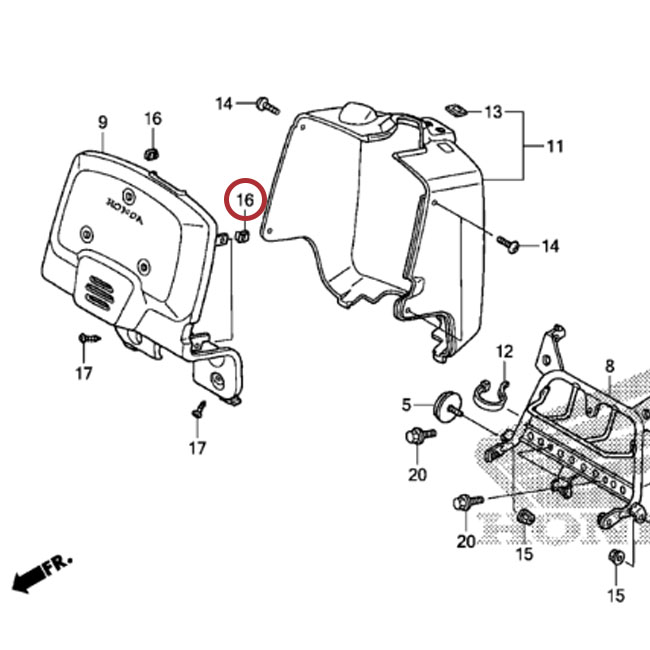 Honda Ruckus Battery Box nut Clip