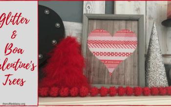 Glitter and Boa Valentine's Trees