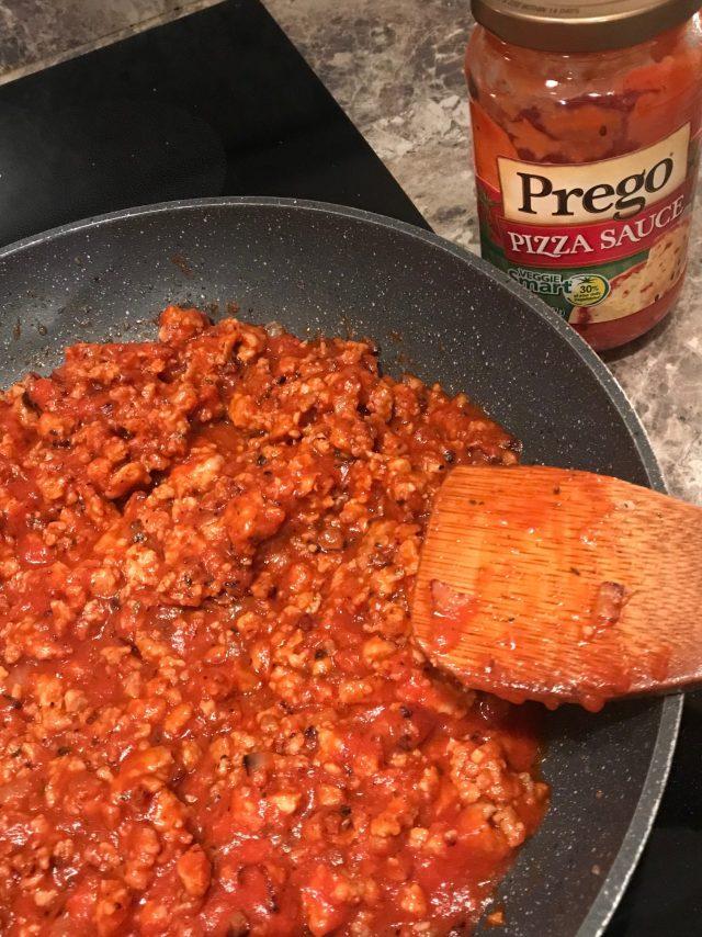 pizza bruschetta meat sauce