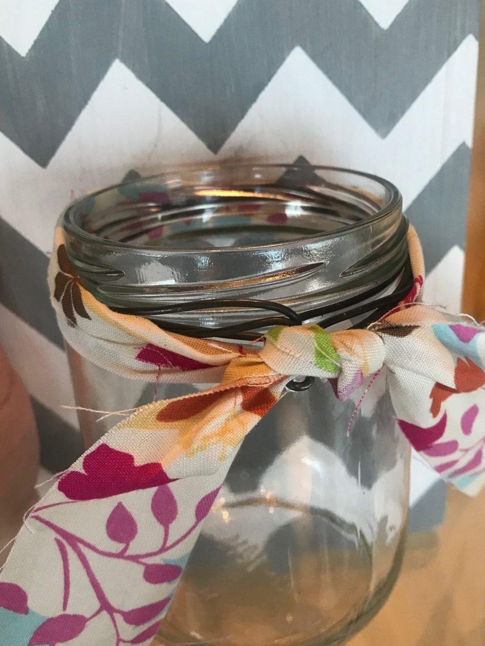 Tie Fabric around jar