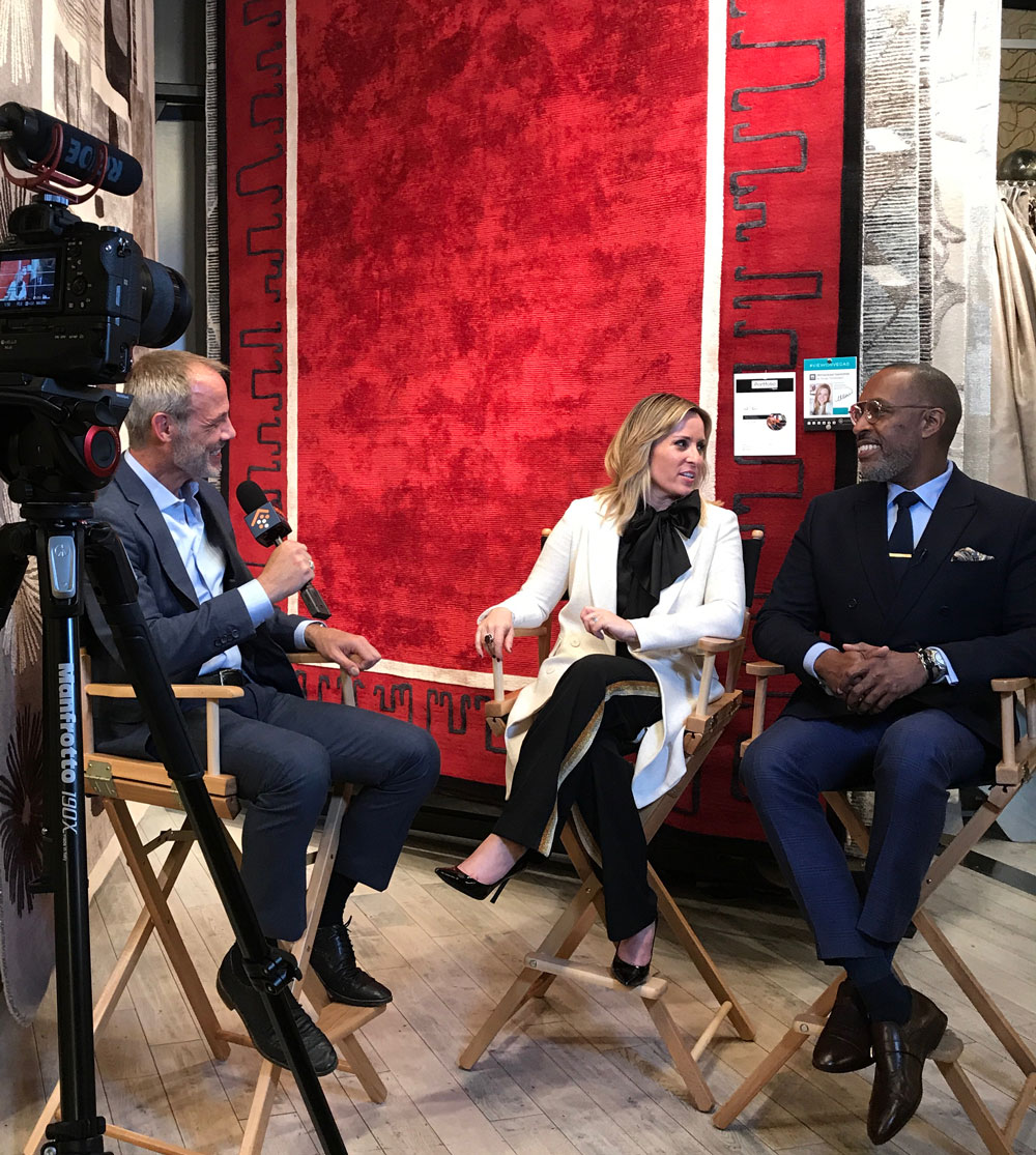 Interior designers Jamie Rummerfield and Ron Woodson discuss interior design trends and their new rug designs as part of Portfolio by Nourison during an event at 2018 Las Vegas Market.