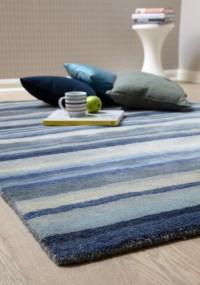 Review Of Ultimate Stripe 01 Blue Grey Wool Rug By ...