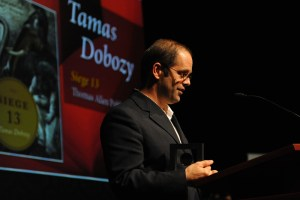 Tamas Dobozy accepts award_sml