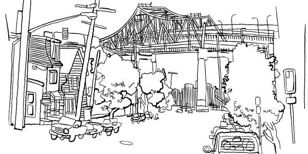 Chelsea with bridge (Jason Polan)