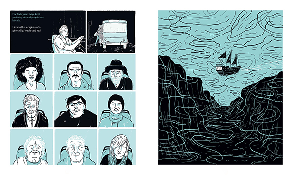 "Pages from ""The Title of This Story is ROADS"" in the anthology Omnibus, by Einat Tsarfati"