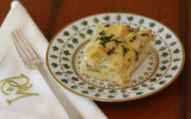 Leek and Brie Bread Pudding